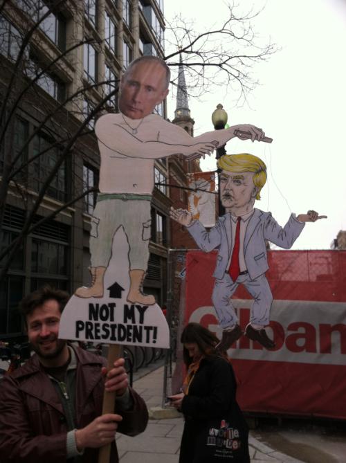 Putin Puppet sign